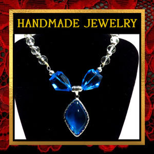 Blue & Crystal Glass Statement Necklace  #254